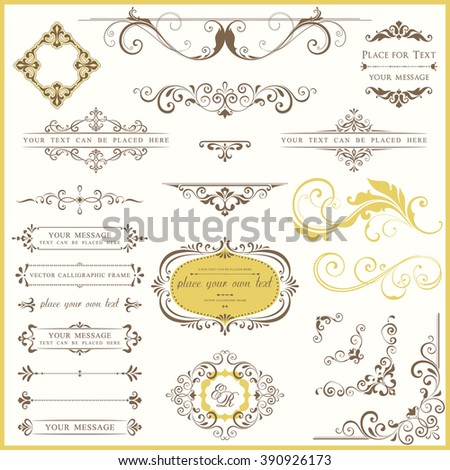 Vector set of ornate calligraphic vintage elements and page decorations. Use for invitations, greeting cards, banners, posters, placards, badges or logotypes. - stock vector