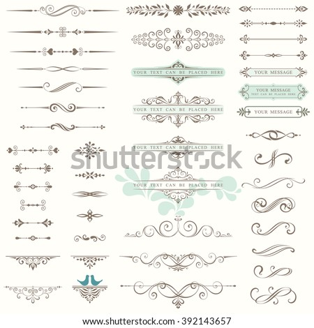 Vector set of ornate calligraphic vintage elements, dividers and page decorations. Use for invitations, greeting cards, banners, posters, placards, badges or logotypes. - stock vector