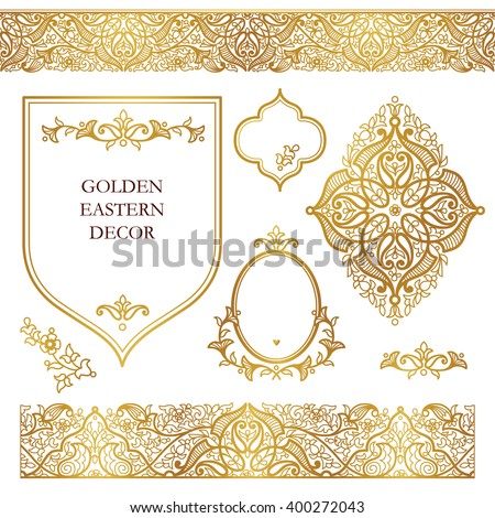Vector set of ornate frames, seamless borders for design template. Eastern style element. Golden outline floral decor. Luxury illustration for invitations, cards, certificate, thank you message. - stock vector