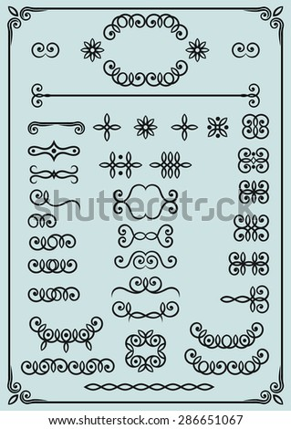 Vector set of page decor and calligraphic design elements.  - stock vector