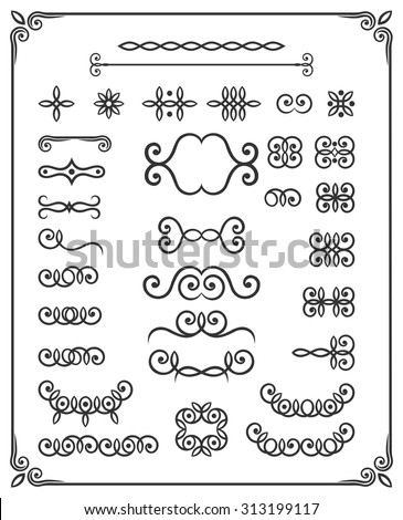 Vector set of page decor and calligraphic design elements. Borders, curls, vignettes and swirls. - stock vector