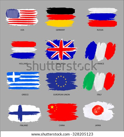Vector set of painted flags - stock vector