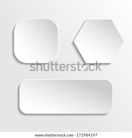 Vector set of paper buttons - stock vector