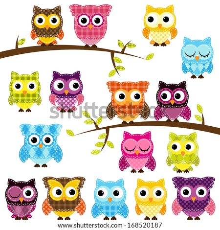 Vector Set of Patchwork Or Quilt Style Owls and Branches - stock vector