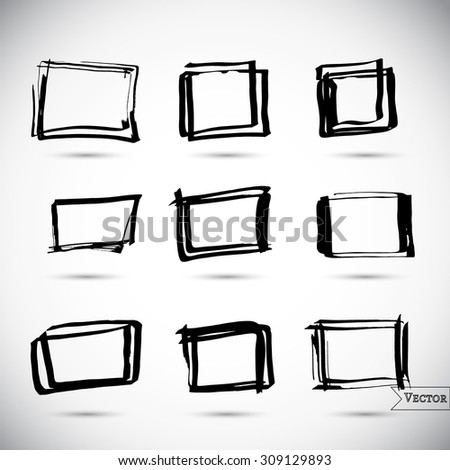 Vector set of pen scribbles. Grunge pencil circles. Quick bubble sketches. Square banners. - stock vector