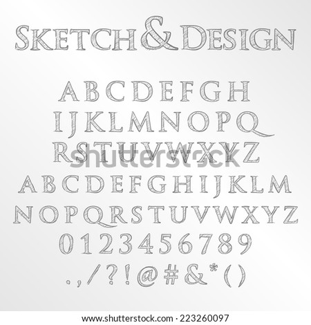 Vector set of pencil sketched letters - stock vector
