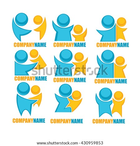 vector set of people, family and love logo, sticker and symbols - stock vector