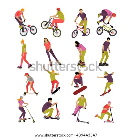 Vector set of people on bicycle, skateboard, rollers and scooter. Sport design elements and icons isolated on white background. Teenager makes tricks and stunts. - stock vector