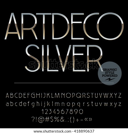 Vector set of perfect silver alphabet letters, numbers and punctuation symbols. Art Deco slim style - stock vector