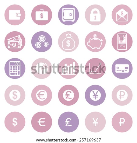Vector Set of Pink and Purple Finanse Icons - stock vector