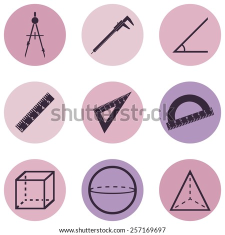 Vector Set of Pink and Purple Geometry  Icons - stock vector