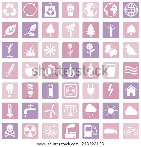 Vector Set of Pink Ecologic Icons - stock vector