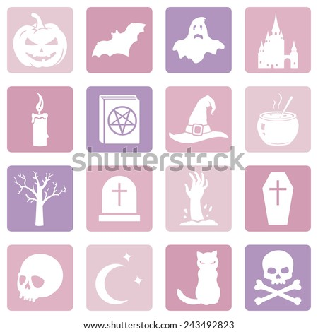 Vector Set of Pink Halloween Icons - stock vector