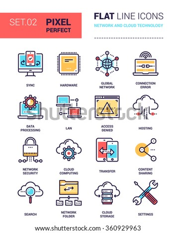 Vector set of pixel perfect based on 64 px grid colorful flat line web icons on network and cloud technology theme. - stock vector