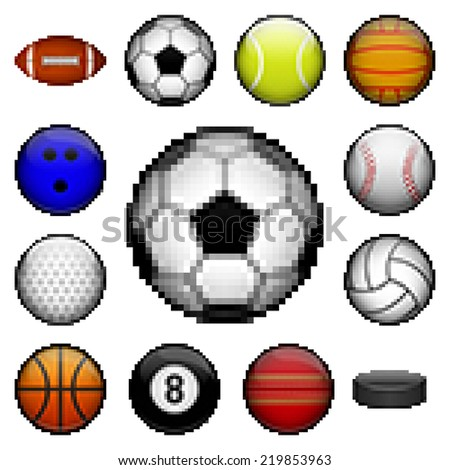 Vector set of pixel sports balls - stock vector