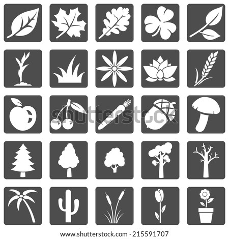 Vector Set of Plants Icons - stock vector