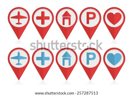 Vector set of pointers with airplane, hotel, parking, health icons  - stock vector