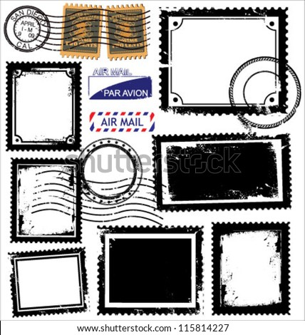 Vector set of postage stamps - stock vector