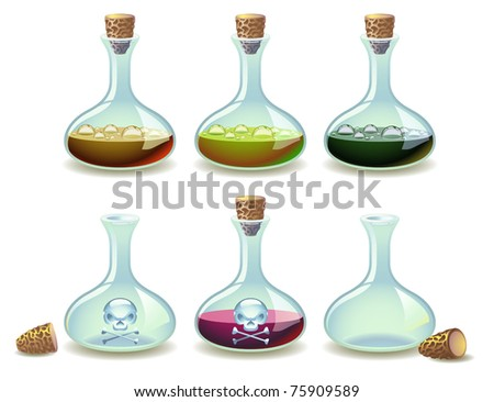Vector set of potions and empty vials - stock vector