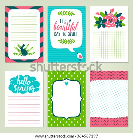 Vector set of printable journaling cards. Bright collection with cute cartoon characters and lettering for scrapbooking. Six spring notebook pages. - stock vector