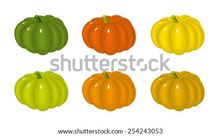 Vector set of pumpkins on white background - stock vector
