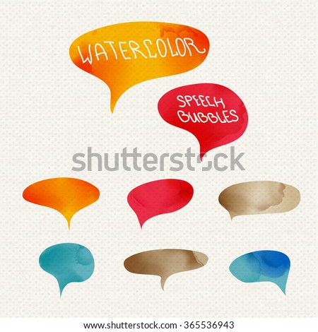 Vector set of quote forms template. Colorful bright backgrounds. Watercolor frame. Blank colorful speech bubbles. Business template for text information and print design.  - stock vector