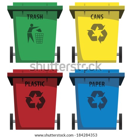 vector set of recycle bins - stock vector