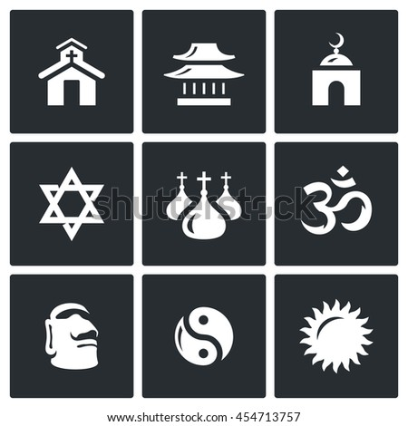 Vector Set of Religion Icons. Catholic, Buddhism, Islam, Judaism, Christianity, Hinduism, Idolatry, Taoism, Paganism. Church, Temple, Mosque, Synagogue, Dome, Aum, Stone Idol, Yin Yang, Sun - stock vector