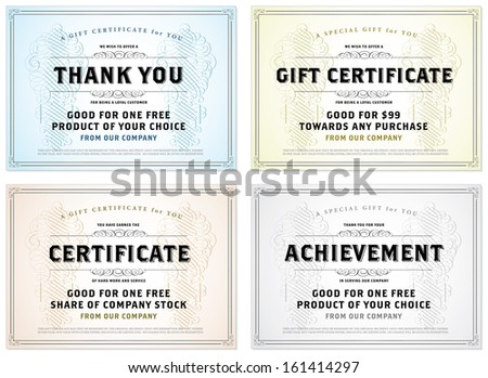 Vector set of retro gift certificates. Great for certificates, diplomas, and awards. Easy to edit. - stock vector