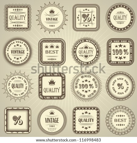 Vector set of retro labels - stock vector