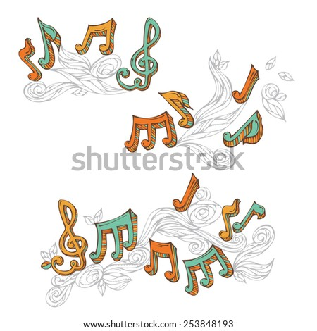 Vector set of  retro music page decorations. Page dividers, vintage design elements and page decoration with music notes and treble clefs isolated on white background. - stock vector