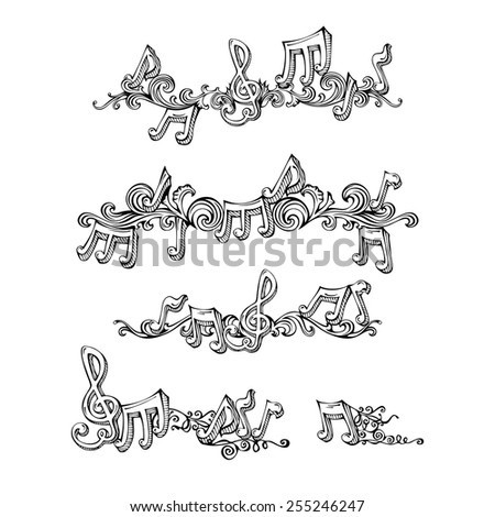 Vector set of retro music page decorations. Sketch page dividers, vintage design elements and page decoration with music notes and treble clefs. Isolated on white background. - stock vector