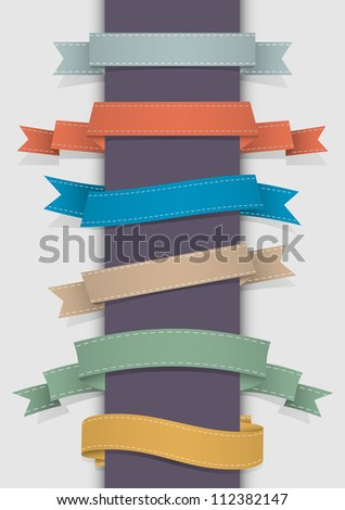 Vector set of retro ribbons - stock vector