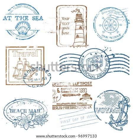 Vector Set of Retro SEA stamps - for design and scrapbook - stock vector