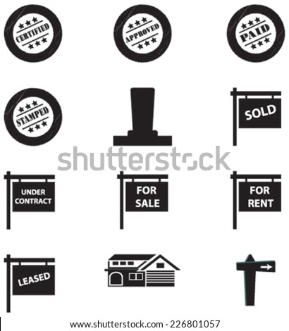 Vector Set of Retro Stamps, sale, under contract, rent and house signs, post and tags - stock vector