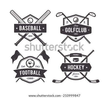 Vector set of retro styled sport emblems. Team sport badges and design elements. - stock vector