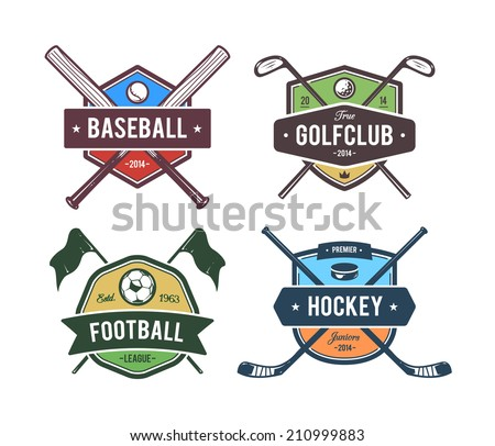Vector set of retro styled sport emblems. Team sport badges and design elements. Colored version. - stock vector