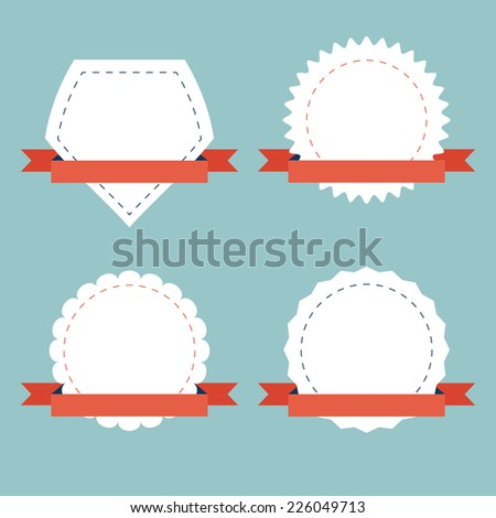 Vector set of ribbons and starburst pack for your design. Banner Set. - stock vector
