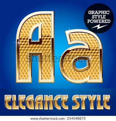 Vector set of rich shining alphabet with golden border. Letter A - stock vector