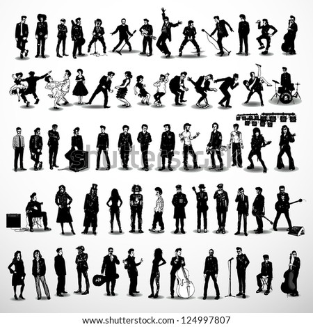 vector set of rock-stars - stock vector