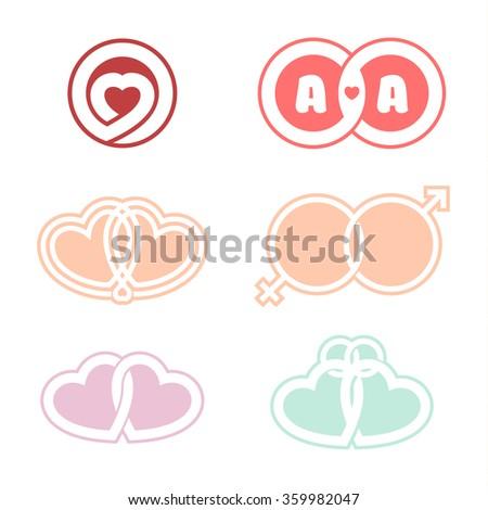 Vector set of romantic logos. United Heart symbol of love. Marriage. Wedding rings. - stock vector