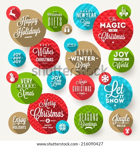Vector set of round frames with Christmas greeting, phrases and flat icons with long shadow - stock vector