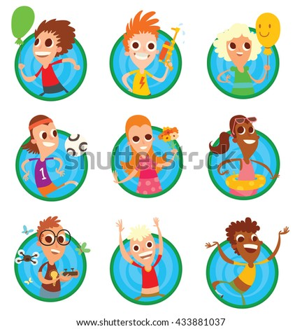 Vector set of round green-blue frames with different children with different color hair and skin, with different attributes of the summer in hands on a white background. Vacation, summer. - stock vector