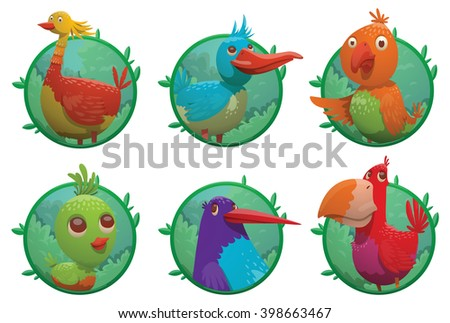 Vector set of round green frames. Cartoon fantasy tropical birds of different colors in the center of the frames. Set of frames with bright colored tropical birds. Cartoon tropical birds. Vector. - stock vector