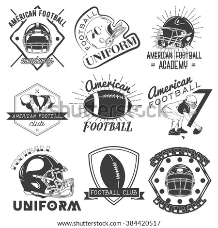 Vector set of rugby and american football labels in vintage style. Sport concept. Design elements, retro emblems and icons isolated on white background. - stock vector