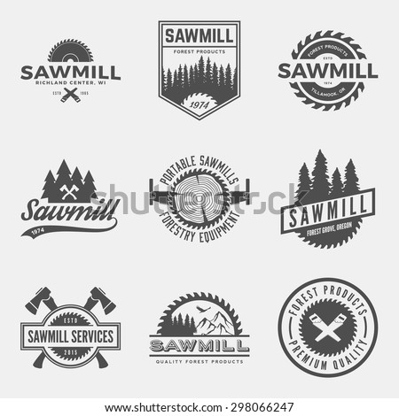 vector set of sawmill labels, badges and design elements - stock vector