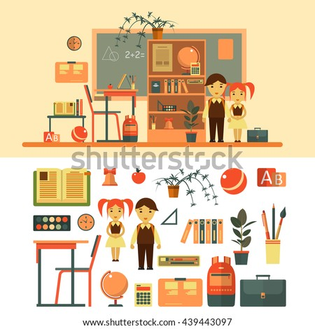 Vector set of school related objects isolated on white background. School icons in flat style, books, pupils, blackboard, shelf, pen, school desk. School classroom with chalkboard and desk. - stock vector