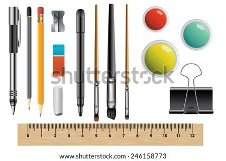 Vector set of school supplies isolated - stock vector