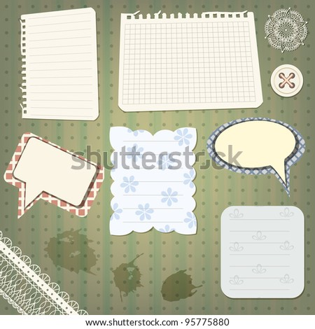 vector set of scrapbook design elements: vintage papers, splashes lacy border, speech bubbles, button , and flower - stock vector