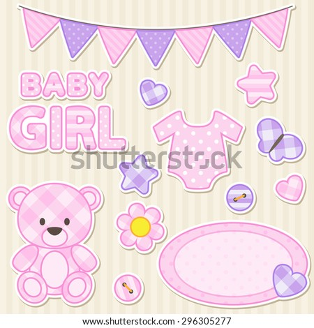 Vector set of scrapbook elements for girl in pink color - stock vector